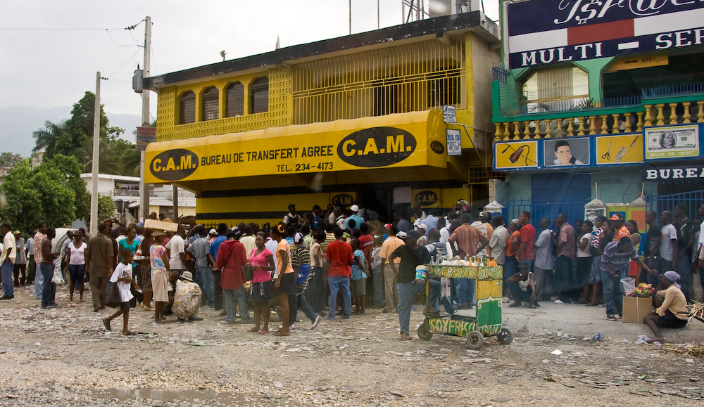 A snapshot of a money transfer agency in Haiti. Photo by Georgia Poppelwell. https://www.flickr.com/photos/georgiap/4309914820